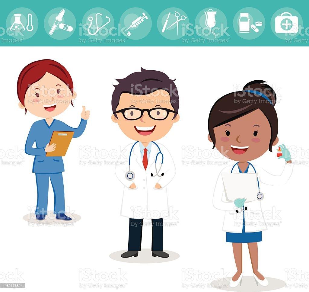 Health care team vector art illustration