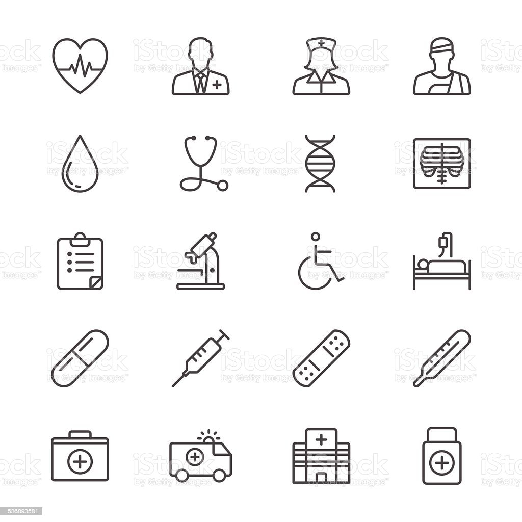 Health care thin icons vector art illustration