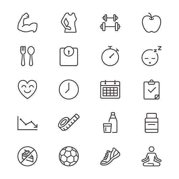 health care thin icons - workout calendar stock illustrations, clip art, cartoons, & icons