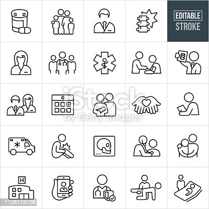 A set health care and medical icons that include editable strokes or outlines using the EPS vector file. The icons include both a male and female doctor, nurse, medical professionals, medication, x-ray, injury, medical check-up, ambulance, hospital, medical exam, physical therapy and hospital sick bed to name just a few.