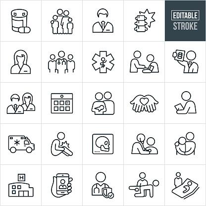 Health Care Thin Line Icons Editable Stroke - Immagini vettoriali stock e altre immagini di Accudire