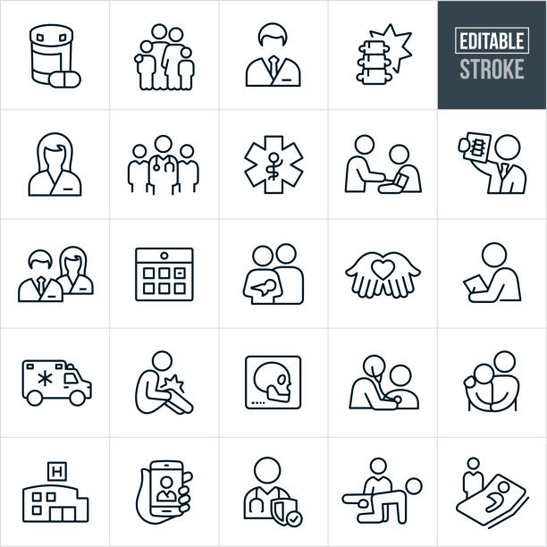 Health Care Thin Line Icons - Editable Stroke A set health care and medical icons that include editable strokes or outlines using the EPS vector file. The icons include both a male and female doctor, nurse, medical professionals, medication, x-ray, injury, medical check-up, ambulance, hospital, medical exam, physical therapy and hospital sick bed to name just a few. physical therapy stock illustrations