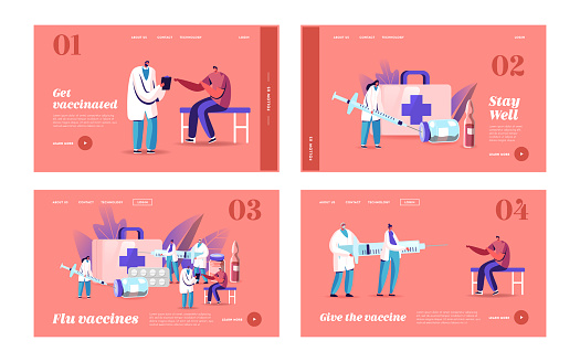 Health Care, Vaccination Landing Page Template Set. Tiny Doctor Characters Prepare Huge Syringe for Injection in Cabinet