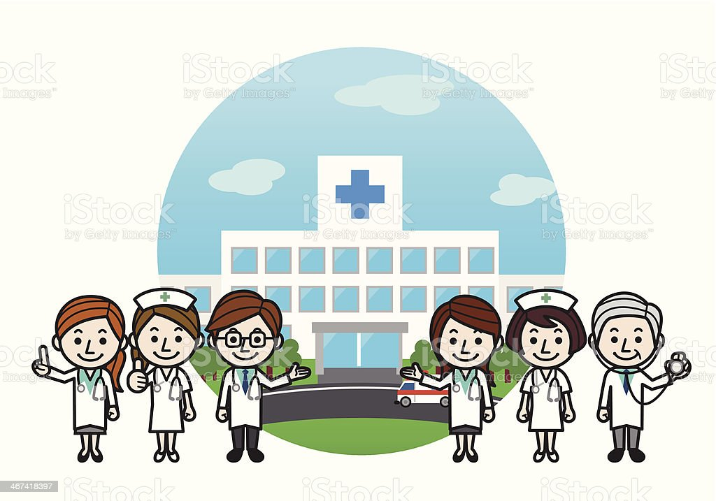 Health care workers & Hospital vector art illustration