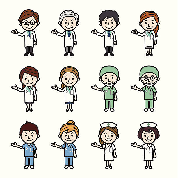 Health care workers showing Health care workers showing. male nurse stock illustrations
