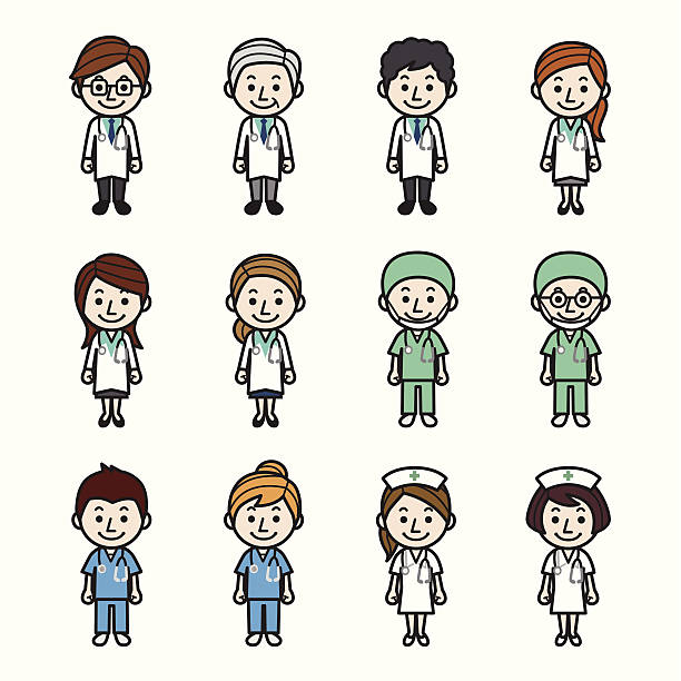 Health care workers Health care workers. male nurse stock illustrations