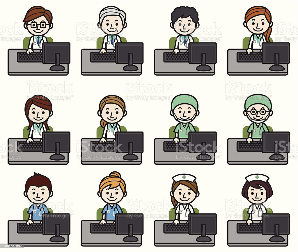 Health care workers working on computer royalty-free stock vector art