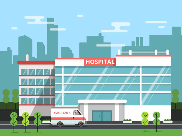 Gesundheitszentrum, äußeren der Gebäude des Krankenhauses. Krankenwagen-Vektor-illustration – Vektorgrafik