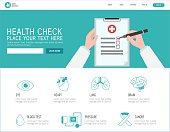 health check infographic. set icon check up healthcare concept. cancer, eyes, brain, heart, lung, blood, pressure illustration. banner landing page for web. vector flat cartoon background