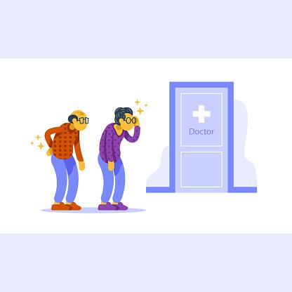 Health check up, annual medical procedure, senior couple in queue, headache and backache