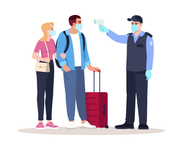 Health check upon arrival semi flat RGB color vector illustration Health check upon arrival semi flat RGB color vector illustration. Security guard check passengers temperature. Virus outbreak. Airport terminal isolated cartoon characters on white background airport clipart stock illustrations