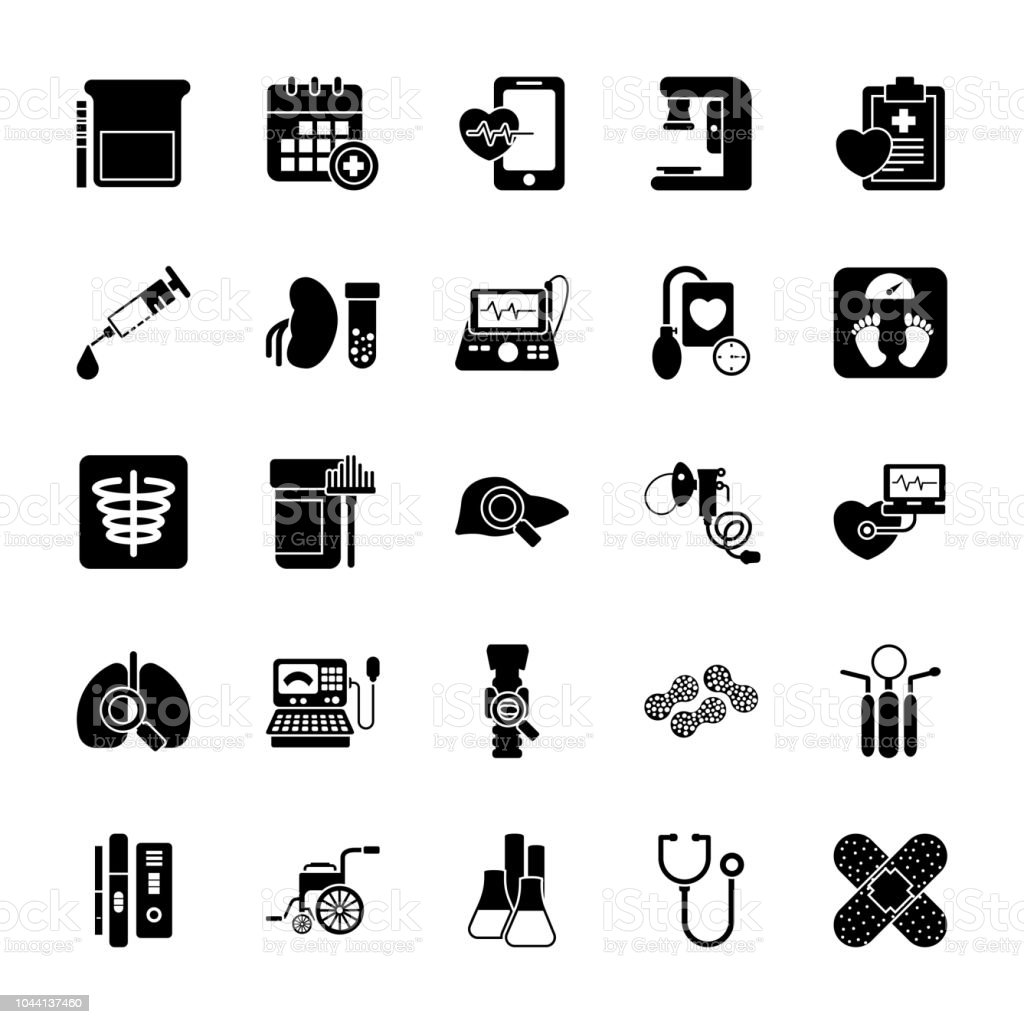 Health Checkup Glyph Icons vector art illustration