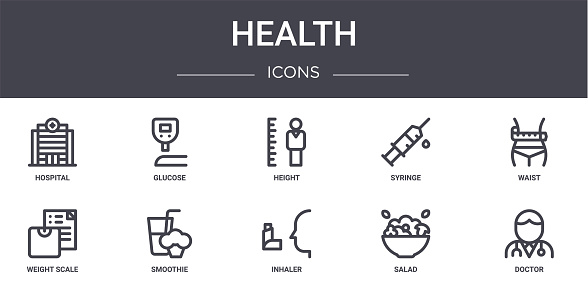 health concept line icons set. contains icons usable for web, logo, ui/ux such as glucose, syringe, weight scale, inhaler, salad, doctor, waist, height