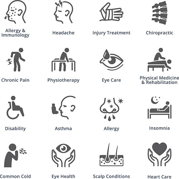 Health Conditions & Diseases Icons - Black Series vector art illustration