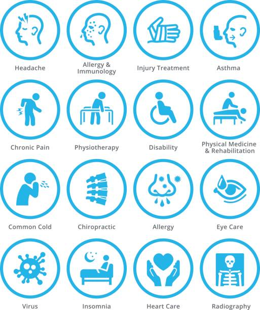 Health Conditions & Diseases Icons - Blue Circles vector art illustration