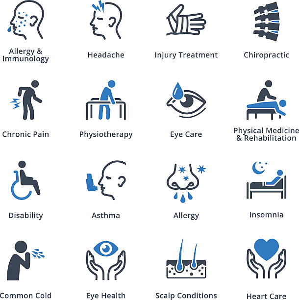 health conditions & diseases icons - blue series - dermatologist stock illustrations, clip art, cartoons, & icons