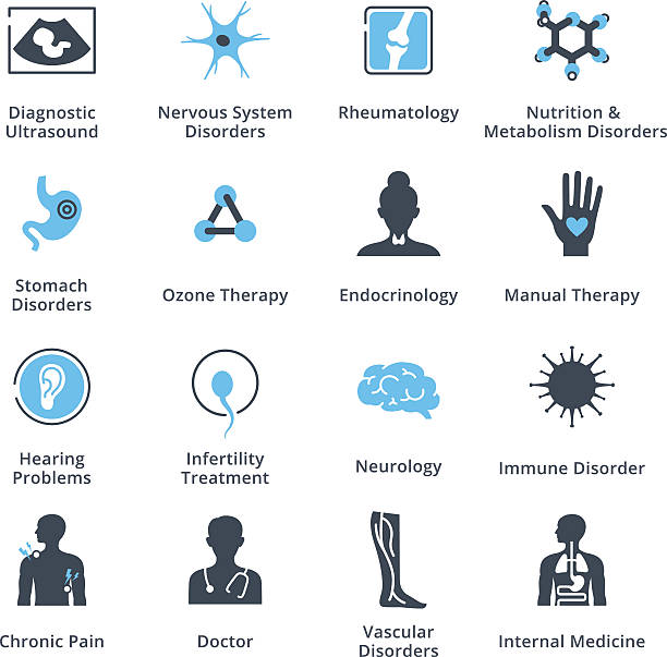 Health Conditions & Diseases Icons This set contains medical and health care icons that can be used for designing and developing websites, as well as printed materials and presentations. immunology stock illustrations