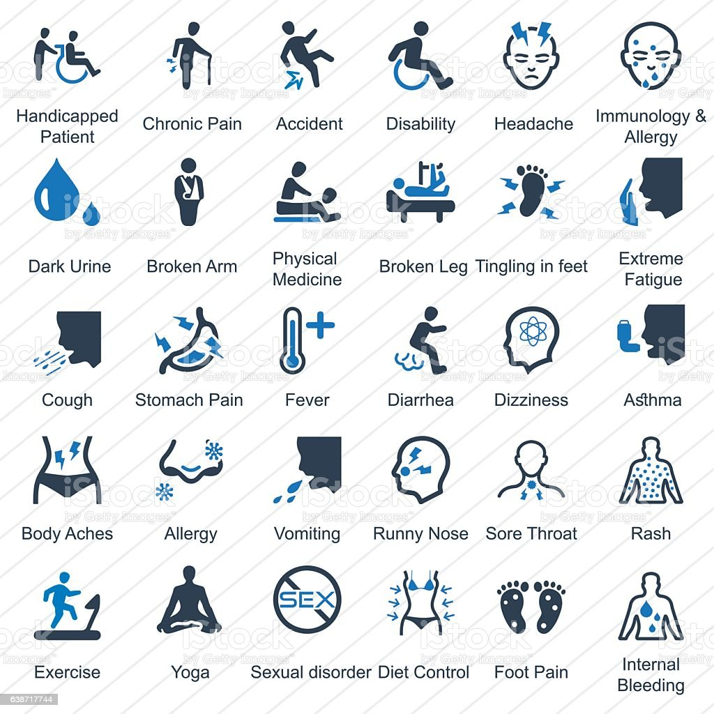 Health Conditions & Diseases (Blue Series) vector art illustration