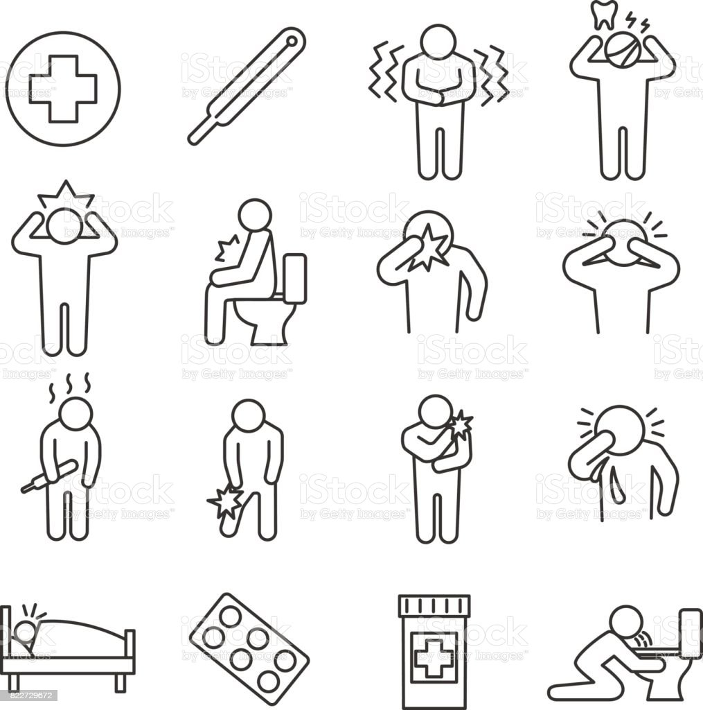 Health conditions. set of line icons vector art illustration