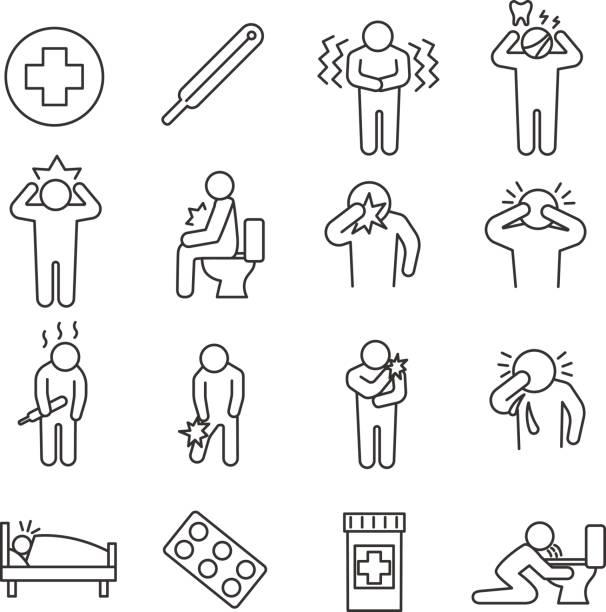 gesundheitlichen bedingungen. reihe von linie icons - krankheit stock-grafiken, -clipart, -cartoons und -symbole
