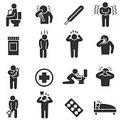 Health conditions, sickness. monochrome icons set.