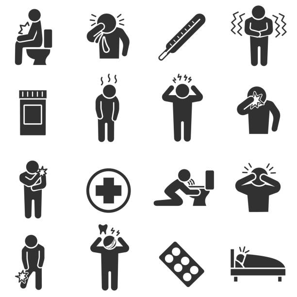Health conditions, sickness. monochrome icons set. Disease states. Health conditions , simple symbols collection fever stock illustrations