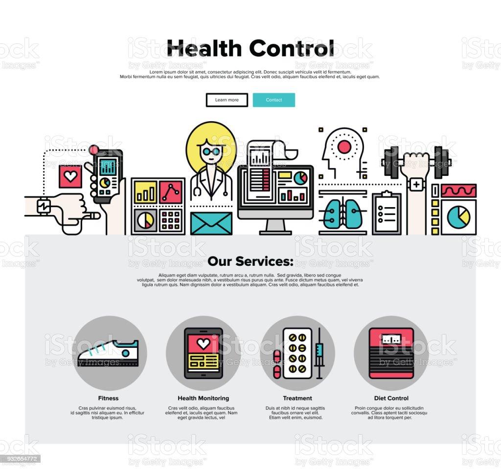 Health control flat line web graphics vector art illustration