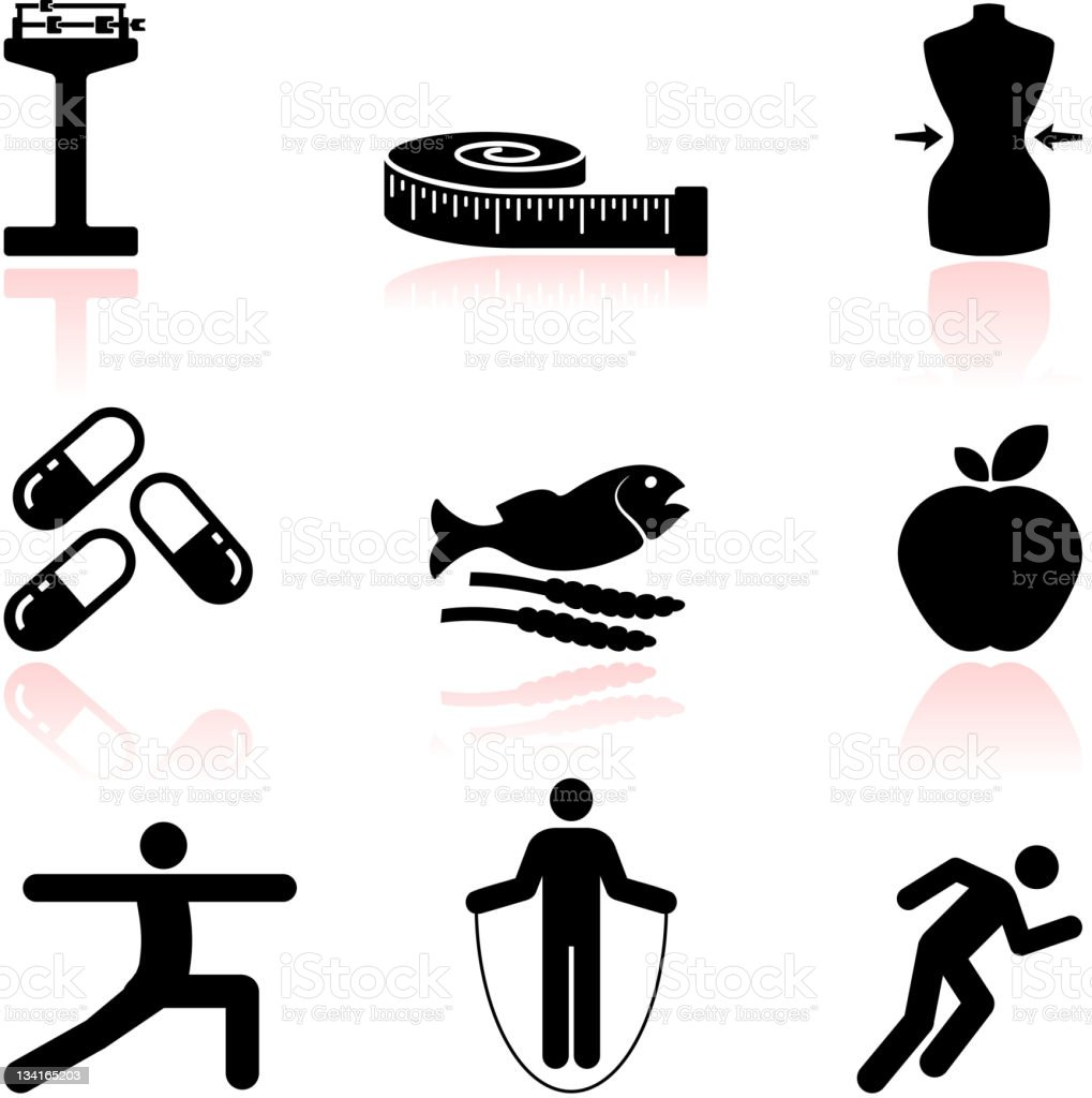 Health Diet And Fitness Black White Vector Icon Set Royalty Free Stock Art