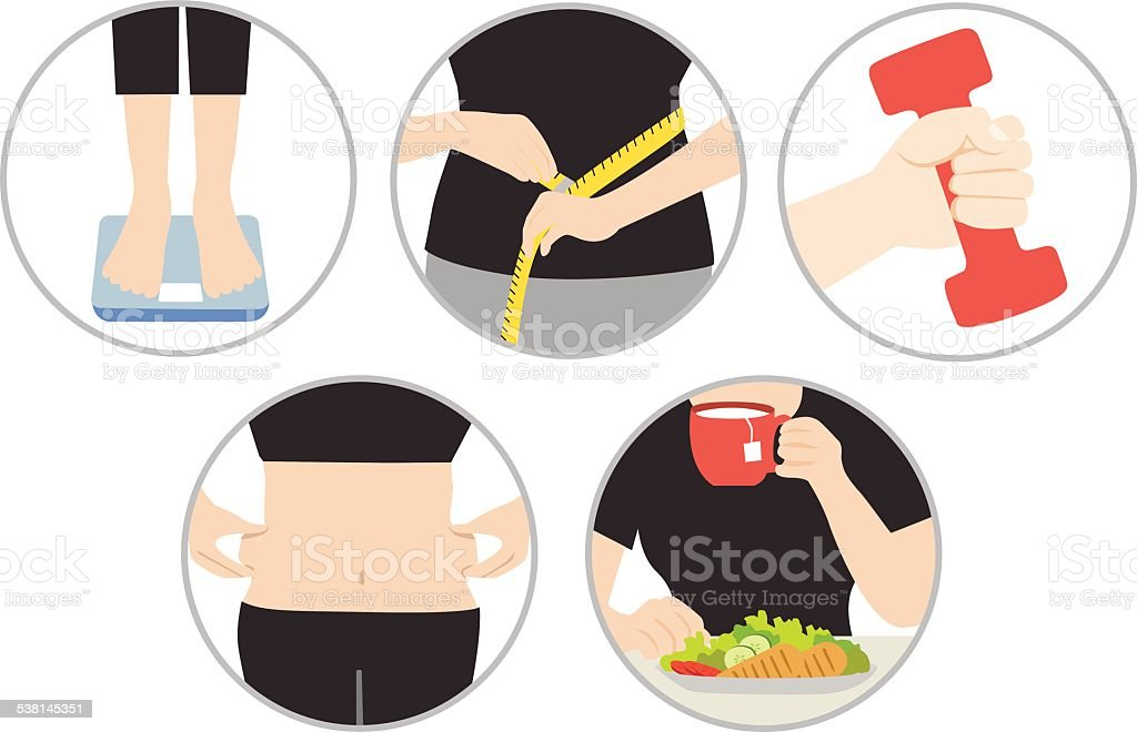 health diet and obesity vector art illustration
