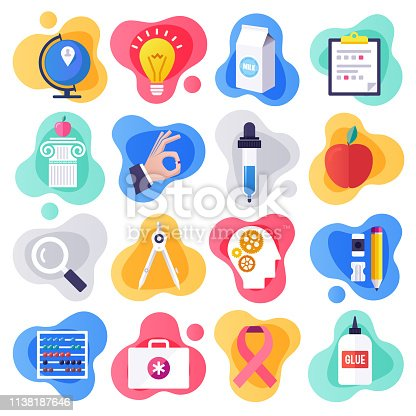 Health education and communication liquid flat flow style concept symbols. Flat design vector icons set for infographics, mobile and web designs.