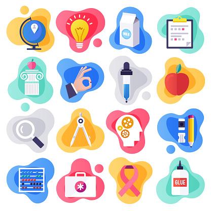 Health Education & Communication Flat Liquid Style Vector Icon Set