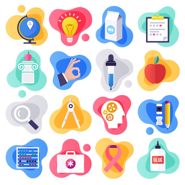 Health Education & Communication Flat Liquid Style Vector Icon Set Health education and communication liquid flat flow style concept symbols. Flat design vector icons set for infographics, mobile and web designs. elementary age stock illustrations
