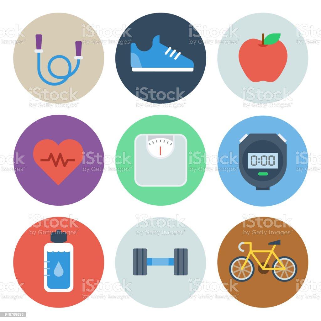 Health & Fitness Icons — Circle Series vector art illustration