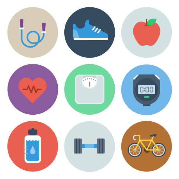 Health & Fitness Icons — Circle Series Professional icon set in flat color style. Vector artwork is easy to colorize, manipulate, and scales to any size. weight loss stock illustrations