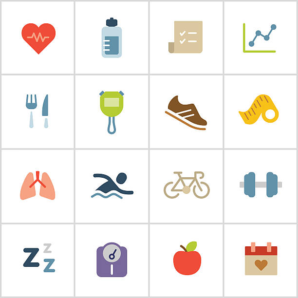 health & fitness icons — poly series - workout calendar stock illustrations, clip art, cartoons, & icons