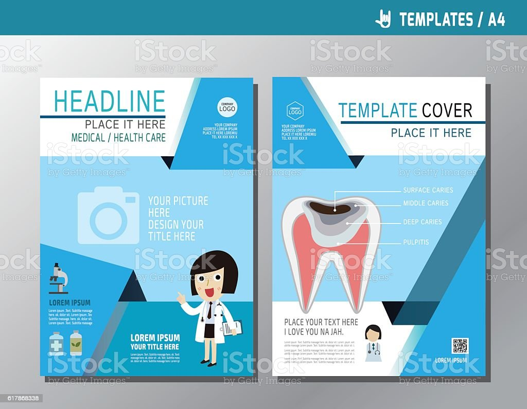 health flyer leaflet brochure template a4 size design stock vector