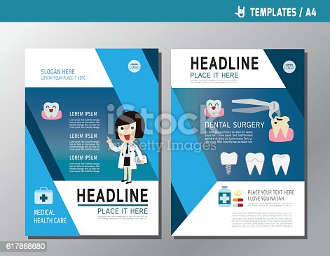 Health Flyer Leaflet Brochure Template A Size Design Stock Vector