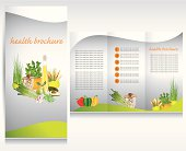 Health food brochure design. Bio vegetable and fruit.Green brochure folder vector.