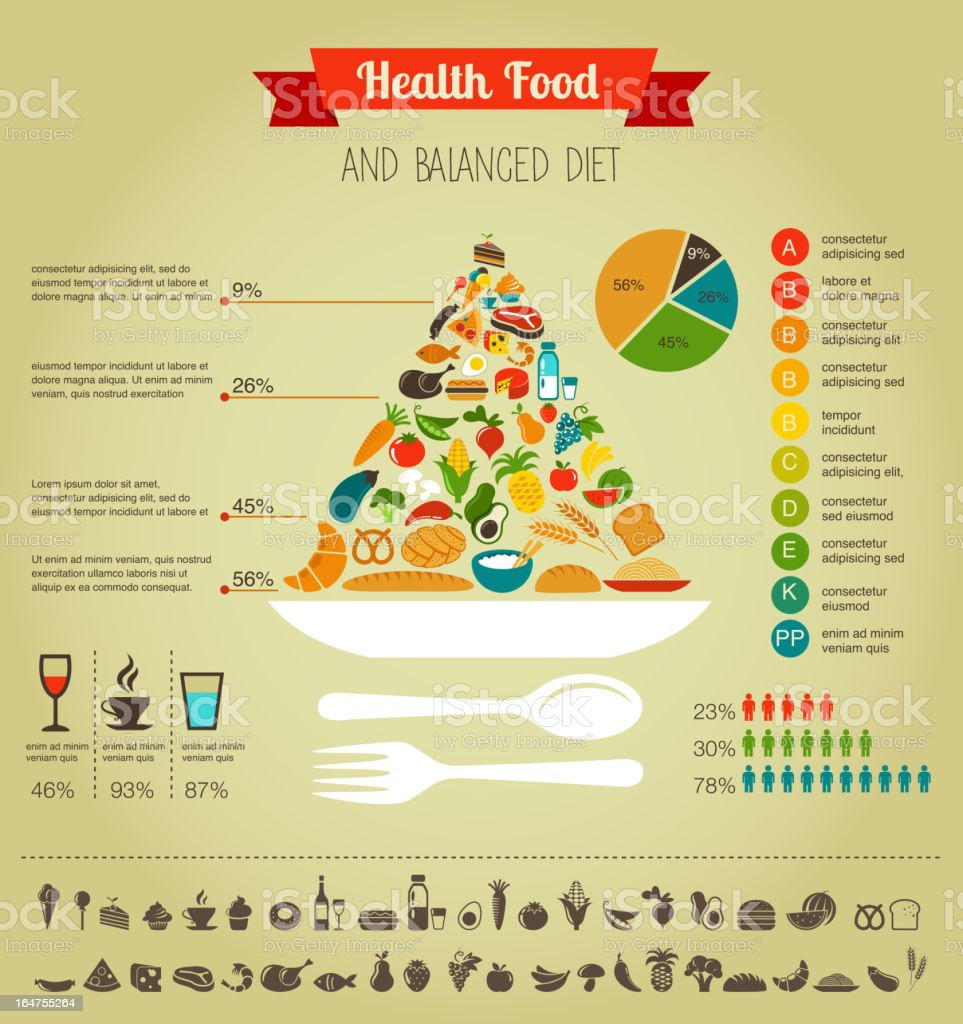 Health food pyramid infographic, data and diagram royalty-free stock vector art