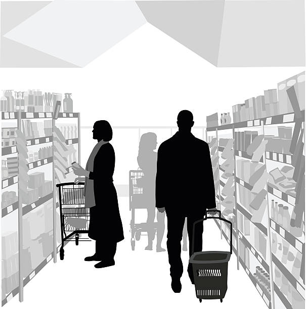 Health Food Store A vector silhouette illustration of a grocery store isle with people shopping.  A woman selects items from  the shelf to put in her cart.  A man walks dragging a basket. grocery aisle stock illustrations
