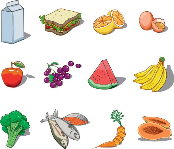 Health food vector illustration Assorted icons of healthy foods, fruits, vegetables and dairy products motivação stock illustrations