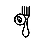 Health fork icon vector. Thin line sign. Isolated contour symbol illustration