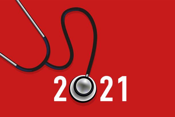 illustrations, cliparts, dessins animés et icônes de carte de vœux 2021, sur le thème de la santé symbolisé par un stétoscope sur fond rouge. - covid france