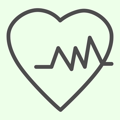 Health heart line icon. Heartbeat cardiogram and rate outline style pictogram on white background. Life trace, medicine and pulse signs for mobile concept and web design. Vector graphics.