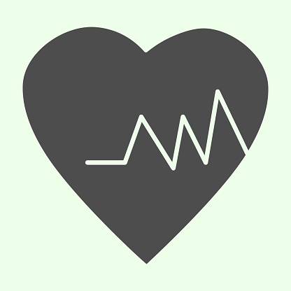 Health heart solid icon. Heartbeat cardiogram and rate glyph style pictogram on white background. Life trace, medicine and pulse signs for mobile concept and web design. Vector graphics.