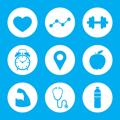 Vector illustration of a set of blue health icons in flat style.