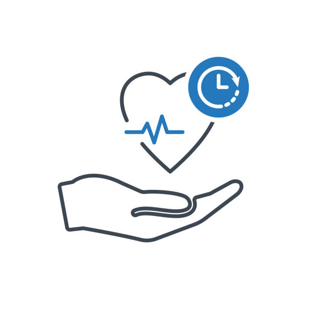 Health icon with clock sign. Heart pulse icon and countdown, deadline, schedule, planning symbol vector art illustration