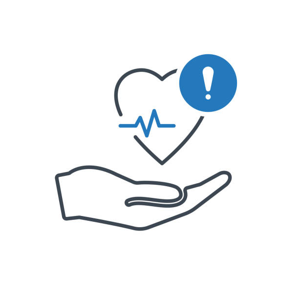 Health icon with exclamation mark. Heart pulse icon and alert, error, alarm, danger symbol vector art illustration