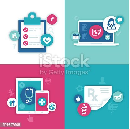 Flat design electronic health records, data and health information symbol backgrounds with space for your copy. EPS 10 file. Transparency effects used on highlight elements.