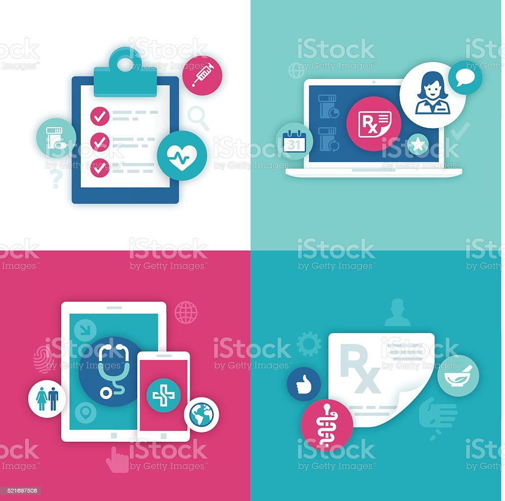 Health Information Symbols vector art illustration